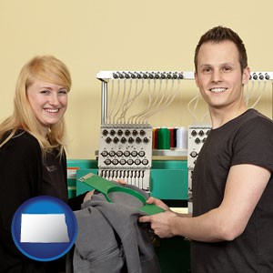 embroidery services company employees - with North Dakota icon