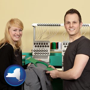 embroidery services company employees - with New York icon