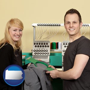 embroidery services company employees - with Pennsylvania icon
