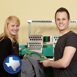 embroidery services company employees - with Texas icon