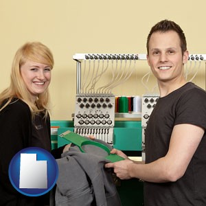 embroidery services company employees - with Utah icon
