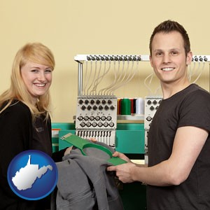 embroidery services company employees - with West Virginia icon